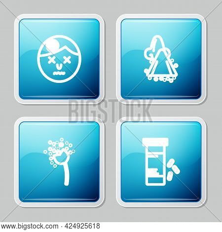 Set Line Man Having Headache, Runny Nose, Flower Producing Pollen And Medicine Bottle And Pills Icon