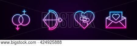 Set Line Gender, Bow And Arrow, Healed Broken Heart And Envelope With Valentine. Glowing Neon Icon.