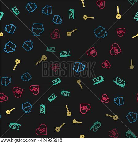 Set Line Wedding Cake With Heart, Coffee Cup And, Lollipop And Healed Broken On Seamless Pattern. Ve