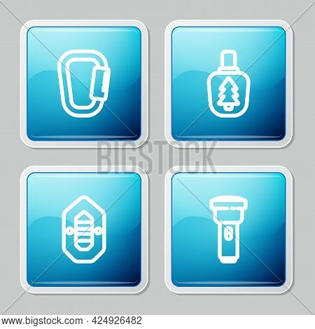 Set Line Carabiner, Canteen Water Bottle, Rafting Boat And Flashlight Icon. Vector
