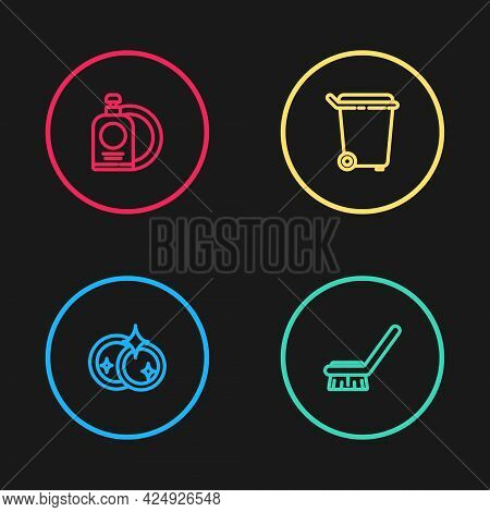 Set Line Washing Dishes, Brush For Cleaning, Trash Can And Dishwashing Liquid Bottle And Plate Icon.