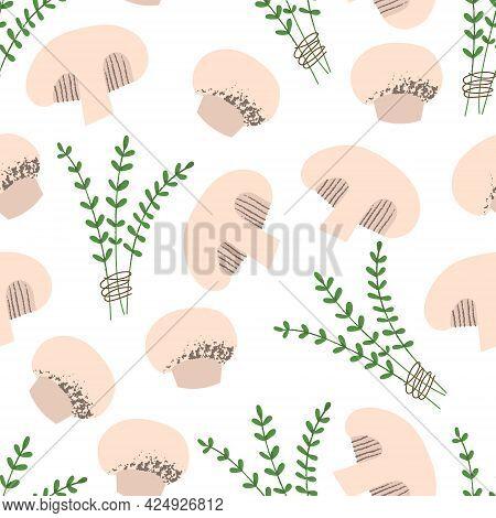 Champignon And Thyme Pattern. Flat Hand Drawn Mushroom Seamless Print.