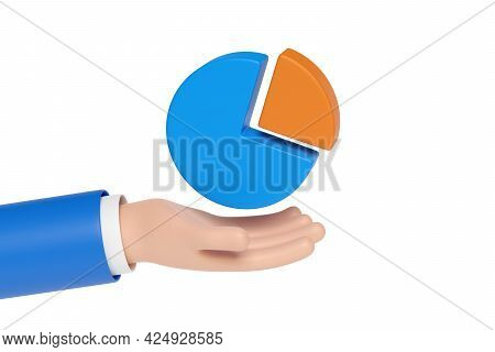 Cartoon Hand Holding A Pie Chart Isolated In White Background. 3d Illustration.
