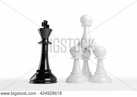 Stacked Chess Pawns Face A King. Work Team Concept. 3d Illustration.