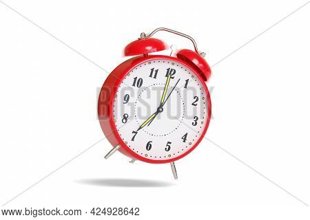 Alarm Clock Ringing Isolated On White Background With Motion Blur. 3d Illustration.