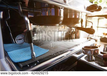 Starting A Professional Steam Coffee Machine. Preparing The Coffee Machine For Brewing Coffee Starti