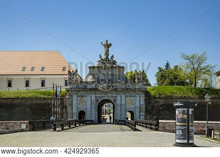 Alba Iulia, Alba, Romania -  May 11, 2021:  View At The Gate For Entrance In Medieval Fortress Of Al