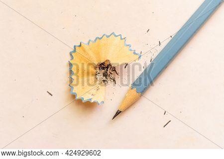 Macro Shot Of Pencil In A Sharpener, Minimalistic Concepts
