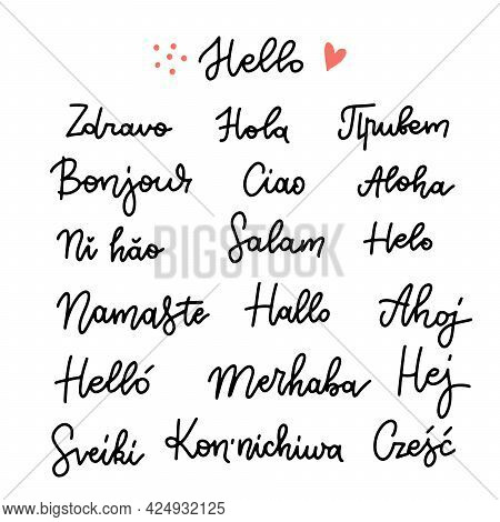 Set Of Word Hello In Different Languages. Linear Hand Drawn Calligraphy. Vector Illustration On Whit