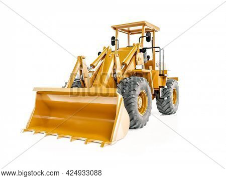 3D rendering of yellow front end loader on white background