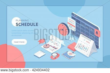 Planning Schedule And Calendar. Time Management, Work Planning Organization Application. Reminders O