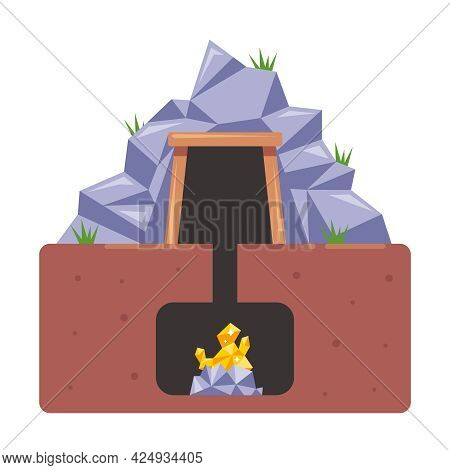 Mine With Gold. Extraction Of Valuable Resources From The Ground. Flat Vector Illustration.