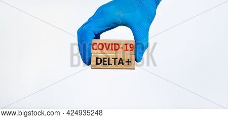 Covid-19 New Delta Plus Variant Symbol. Hand In Blue Glove Holds Wooden Blocks, Words Covid-19 Delta