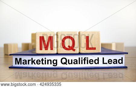 Mql Marketing Qualified Lead Symbol. Wooden Cubes On Book With Words 'mql Marketing Qualified Lead'.