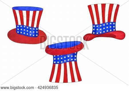 Watercolor Set Of Uncle Sam's Hat For 4th Of July. Design Elements For Independence Day, Usa Nationa