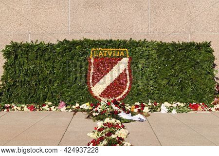 Flowers At The Latvian Freedom Monument In Honor Of The Legionnaires' Remembrance Day On March 16. R