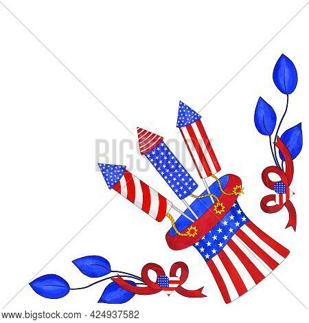 Watercolor Corner With Uncle Sam's Hat, Firecrackers And Branches With Leaves. Traditional Colors Of