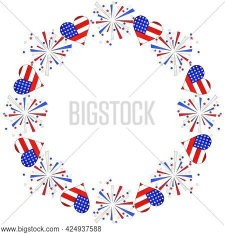 Watercolor Wreath With Hearts And Fireworks. Traditional Colors Of 4th Of July, Independence Day, Us