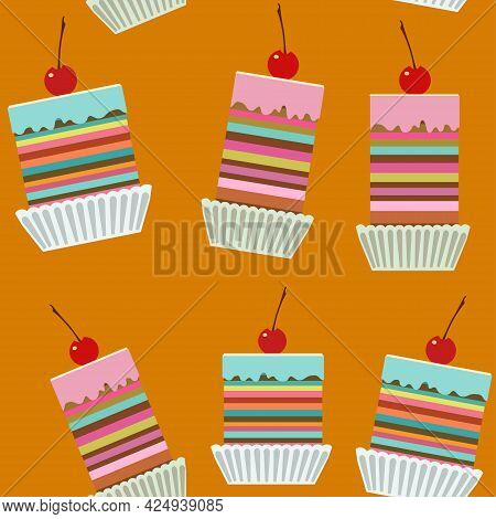 Seamless Pattern With Tasty Creamy Cakes With Cherries.