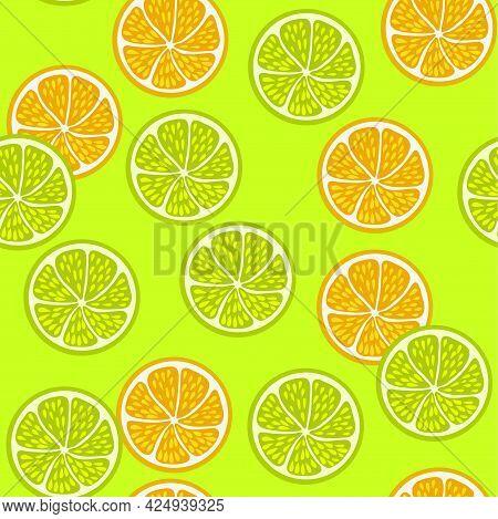 Seamless Pattern With Juice Lemon And Orange Slice.