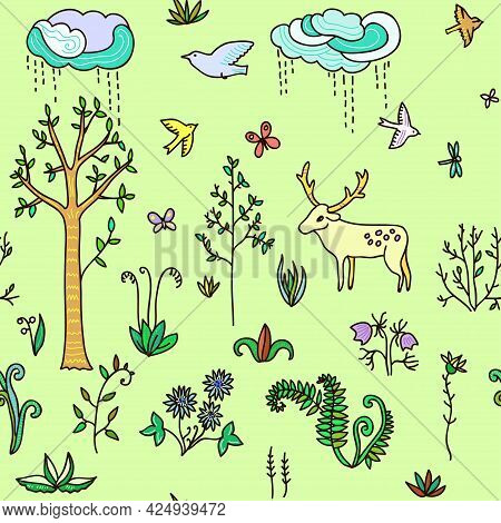 Cute Spring Landscape With Doodle Flowers And Butterflies