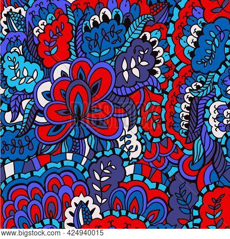 Bright Seamless Floral Psychedelic Boho Pattern With Retro Original Ornament.