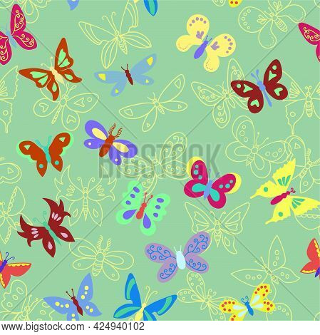 Seamless Pattern With Bright Colorful Minimalistic Butterflies.
