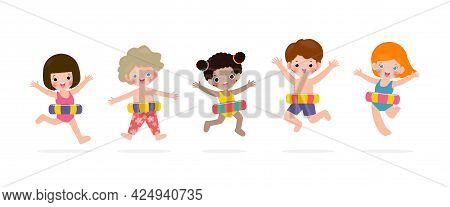 Summer Time, Happy Group Kids In Swimming Clothes With Inflatable Toys, Children With Inflatable Buo