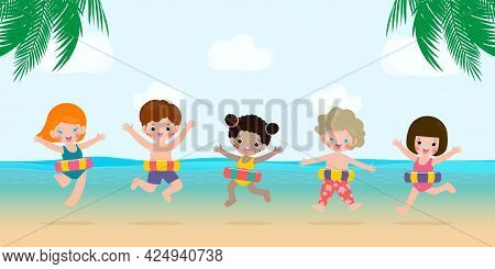 Summer Time, Happy Group Kids In Swimming Clothes With Inflatable Toys On Beach, Children With Infla