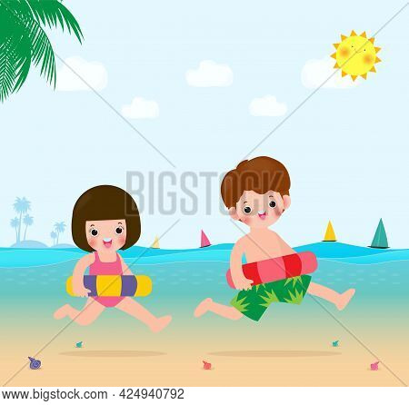 Summer Banner For Happy Kids In Swimming Clothes With Inflatable Toys On Beach, Children With Inflat