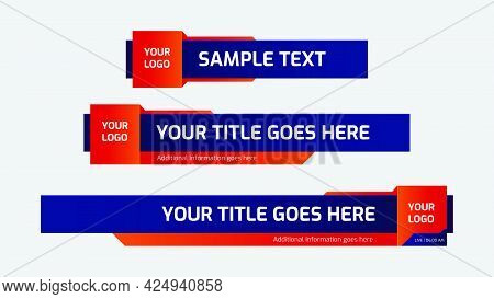 Lower Third Template. Set Of Tv Banners And Bars For News And Sport Channel, Streaming And Broadcast
