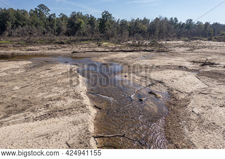 Drone Aerial Photograph Of The Nepean River After Severe Flooding In Yarramundi Reserve In The Hawke