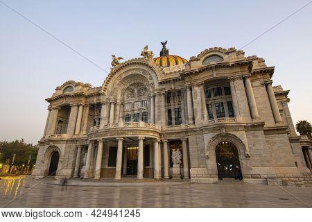 Mexico City - Jan. 15, 2020: Palacio De Bellas Artes Palace Of Fine Arts In Historic Center Of Mexic