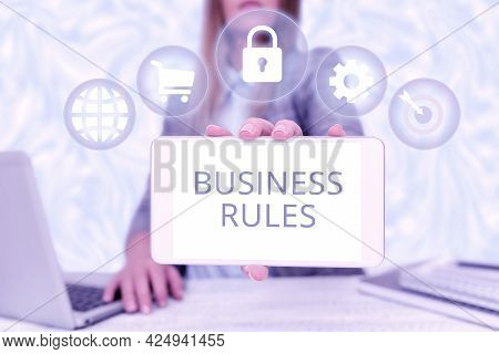 Text Showing Inspiration Business Rules. Business Concept The Principles Which Determine The Corpora