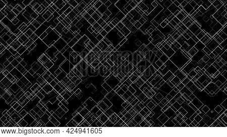 Computer Generated Cells Of Different Sizes From Thin Lines. 3d Rendering Abstract Technology Backdr