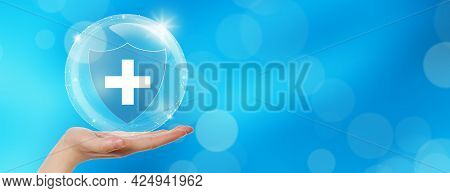 Hand Offer Medical Shield With Bubble On White Background. Family Life Insurance, Medical Care Insur