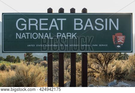 Great Basin National Park, United States: August 4, 2020: Great Basin National Park Entrance Sign