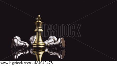 Stand Of Golden King Chess And Fallen Silver King Chess. Winner Of Business Competition And Marketin