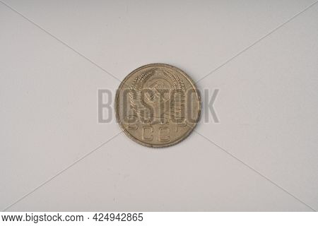 An Old Soviet Coin Of 20 Kopecks In 1953 .