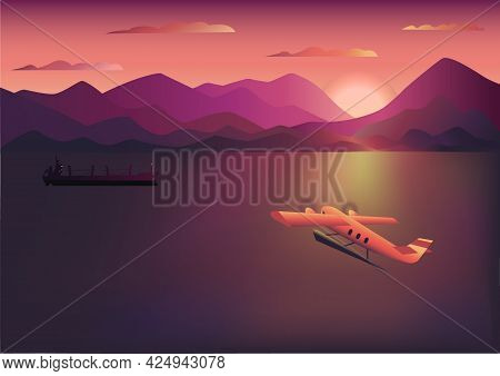 Flat Art Illustration Of Ocean Sunset, Mountains, Small Hydro Plane Taking Off Over Water And A Sail