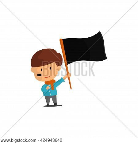 Independence Day Illustration. People Are Shaking The National Flag. Cute Cartoon Character