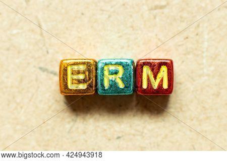 Metallic Color Alphabet Letter Block In Word Erm (abbreviation Of Enterprise Risk Management) On Woo