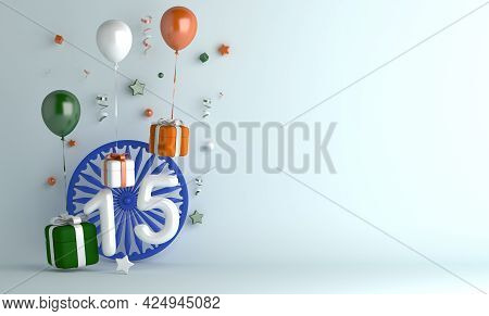 Happy Independence Day Of India Or Republic Day Decoration Background With 15 Balloon Number Ashoka