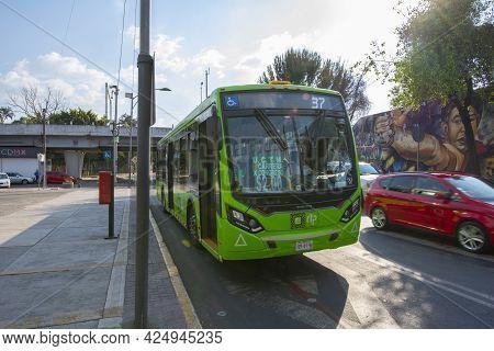 Mexico City - Jan. 15, 2020: Mexico City Metrobus Route 37 In Universidad Station At Mexico City Cdm