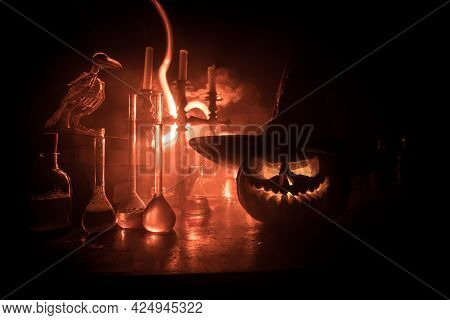 Halloween Still-life Background With Different Elements On Dark Toned Foggy Background. Selective Fo