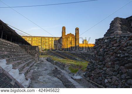 Templo De Santiago And Tlatelolco Ruin In Square Of The Three Cultures Plaza De Las Tres Culturas In