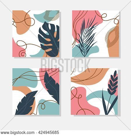 A Set Of Cards With An Abstract Pattern Of Spots And Leaves. Templates For Social Media Design, Pack