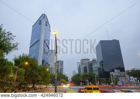 Mexico City - Jan. 16, 2020: Modern Skyscraper Buildings In The Morning On Avenida Paseo De La Refor