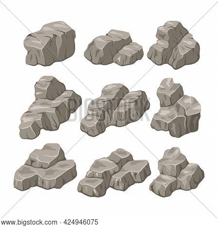 Rock Stone Vector Illustration. Rock And Stone Flat Style. Set Of Different Boulders. Cobblestones O