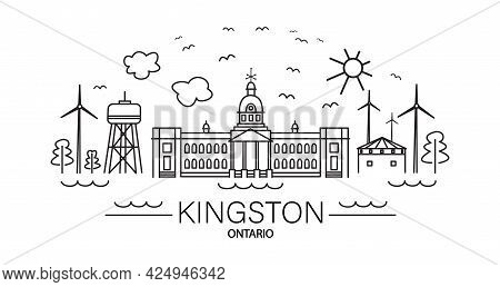 Line Art Showing Famous Tourist Attractions And Landmarks Of Historical City Of Kingston, Ontario